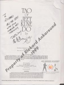 Ted wong signed my tao of jeet kune do book_Rickard Ankarsund